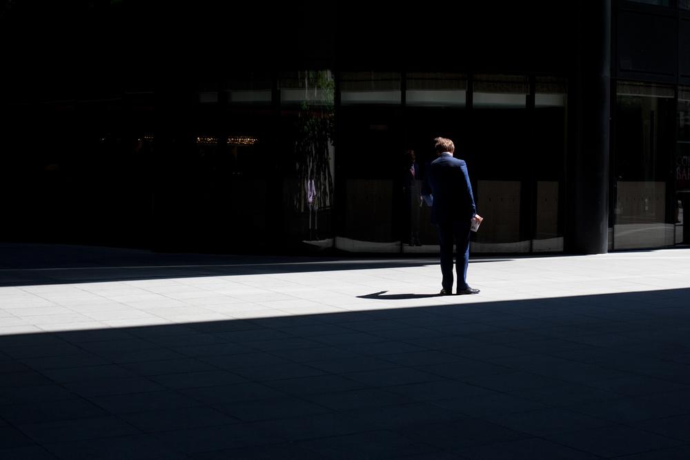 Man in light, London