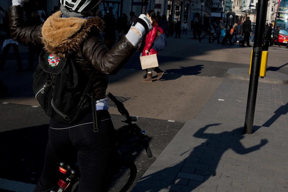 Cyclist, Oxford St, London
