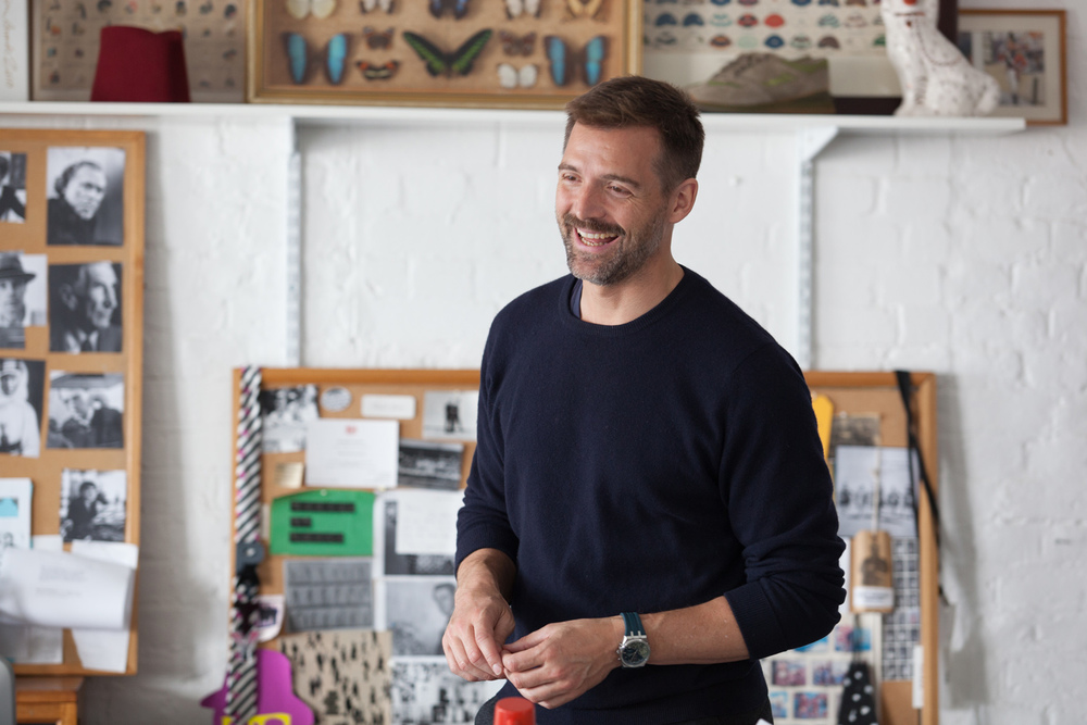 Patrick in his design studio in Wapping