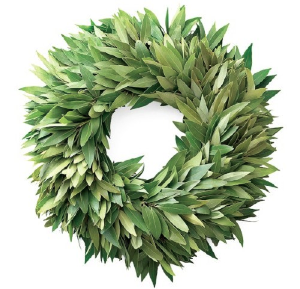 The crew at Lonny recommend this Bay Leaf Wreath & Garland from William Sonoma.