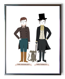 Original artwork from BabyLit: Mr. Bingley and Mr. Darcy.