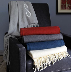 Monogrammed throw from West Elm.