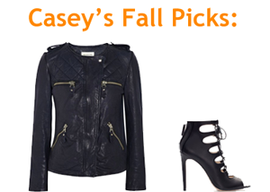 Casey's dream/reality picks for her fall closet: Etoile Isabel Marant Kady washed leather jacket (Netaporter.com) and the leather ankle boot-styled shoe from Zara.