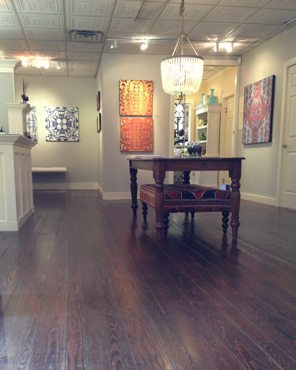 The gallery space at The Drawing Room Boutique & Cafe in Cos Cob. Currently on display:  Repetition , a show exploring the concepts of repetition and pattern.