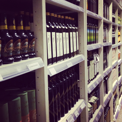 An aisle of olive oils at New York City's Eataly.