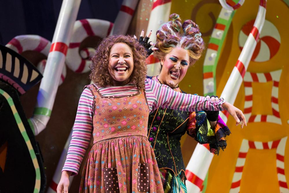Ariana Wehr as Gretel with Kerriann Otano as The Witch in Washington National Opera's 2015 production of Hansel and Gretel.              Photo Credit: Scott Suchman.