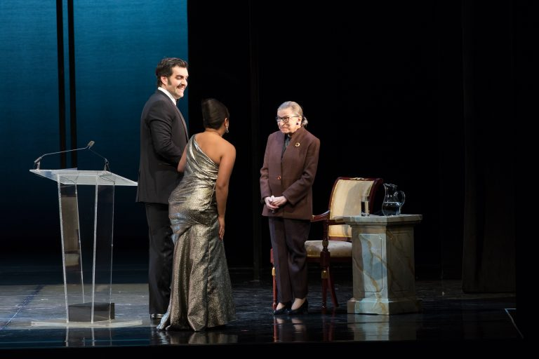"Soprano Ariana Wehr with Bass Timothy J.Bruno and Justice Ginsburg for ""Justice at the Opera"" at Washington National Opera, 2017  Photo: Scott Suchman for WNO."