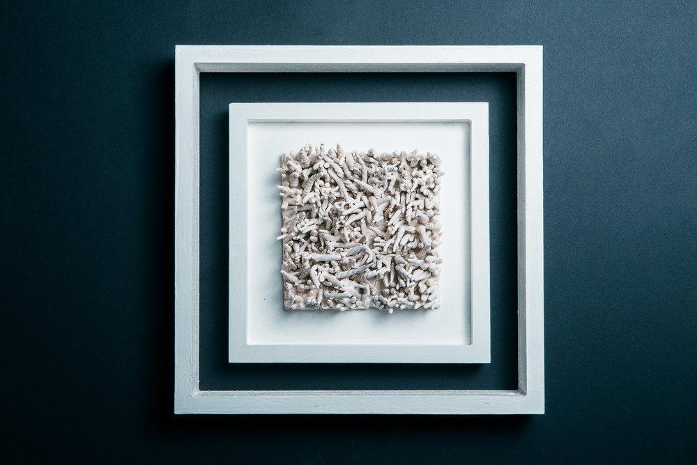 Flotus   Media: Glazed Porcelain & Wood Dimension: 15 X 15 inches Year: 2015