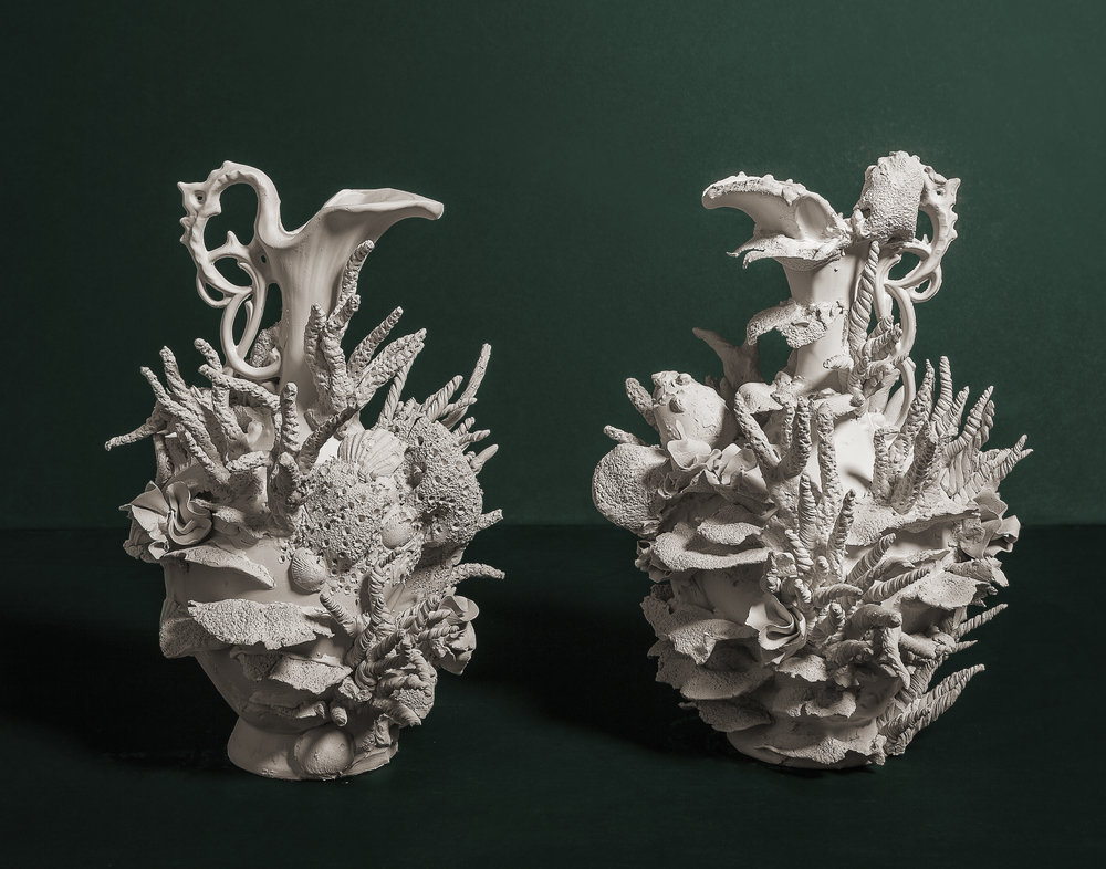 "Exonerated - A drink and a sonnet to the last Barrier Reef   Medium: Porcelain ceramic with cast altered forms.  Dimensions: 14.5"" x 6"" x 6.5"" Year: 2017  Photography by: David Gary Lloyd"