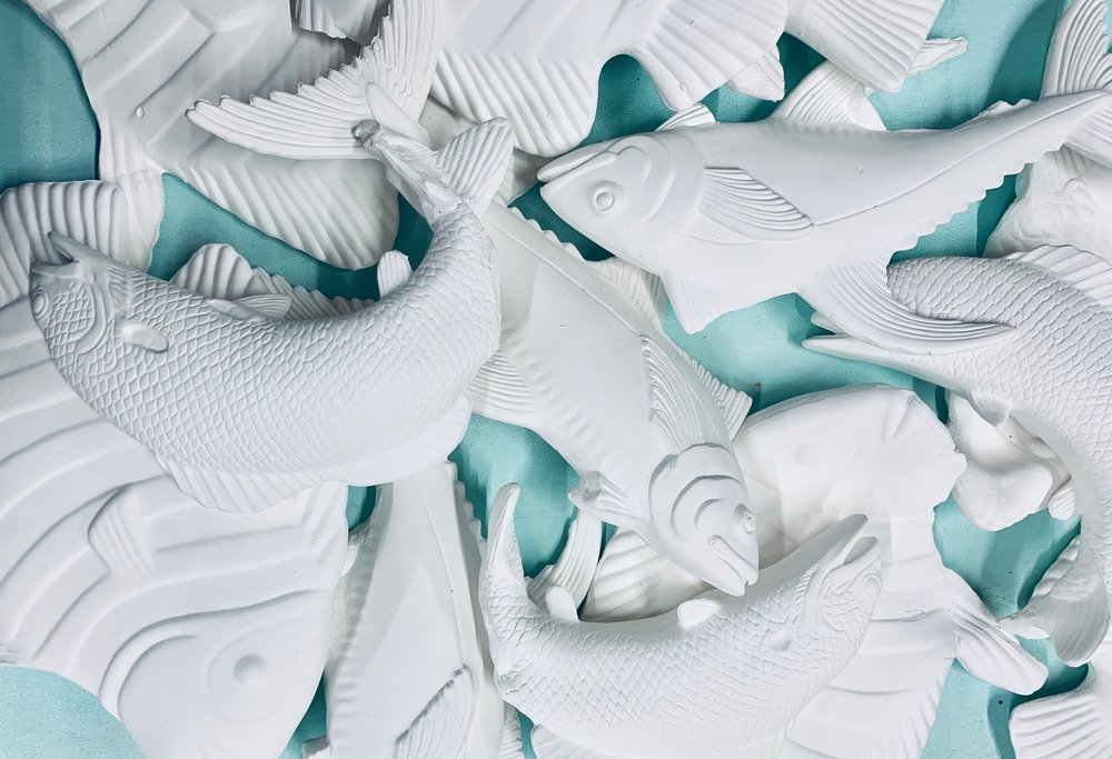 The ocean dances over sun buttered mountains  Medium: Porclean Ceramics & Slip Cast Dimensions: 8 ft x 4 ft  Year: 2019