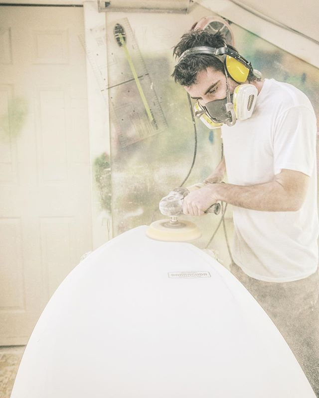 Sanding. All the dust, none of the glory. Thanks @damo_price Photo: Jeffrey Bosdet #supportyourlocalshaper #madeincanada