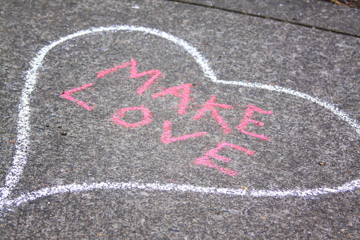 Happy Valentine's Weekend Everyone!!!  A Picture I took of an anonymous message from the corner of NW19th and Pettygrove.