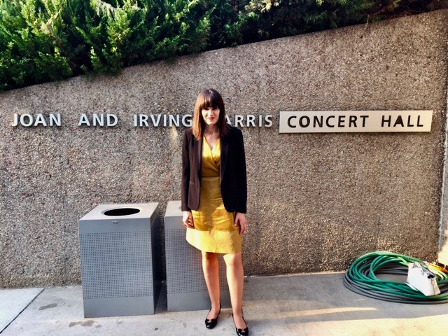 Outside Harris Concert Hall before the concert, 2018, where we rehearsed our pre-concert talks as students