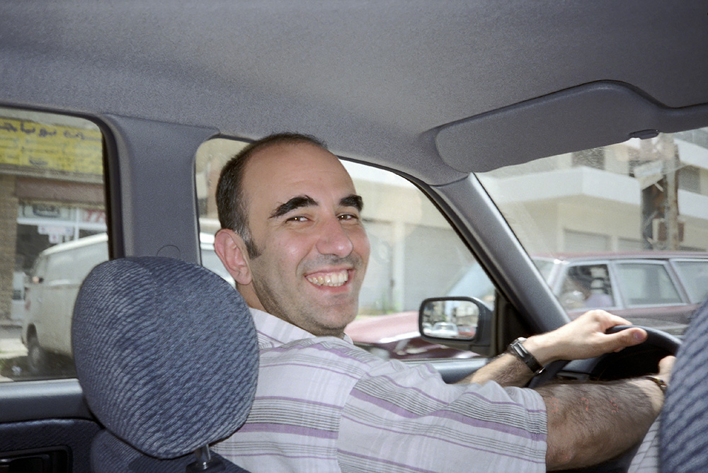 #41 - a snapshot of me driving in crazy Beirut traffic, a feat I was so proud of that I used this photo as part of my homemade Christmas Card in 1992.