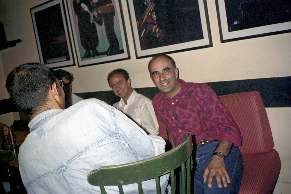 # 43  - In a cafe with Jayce and Walid, in 1992, the year of my slightly longer sideburns.
