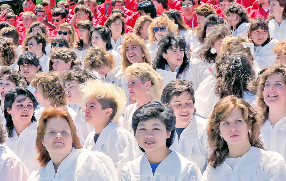 Gathering for a class photograph, Annandale High School - June 1987