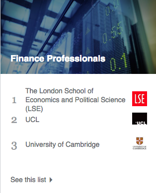 A snapshot from the University rankings section of LinkedIn's new YOUniversity section