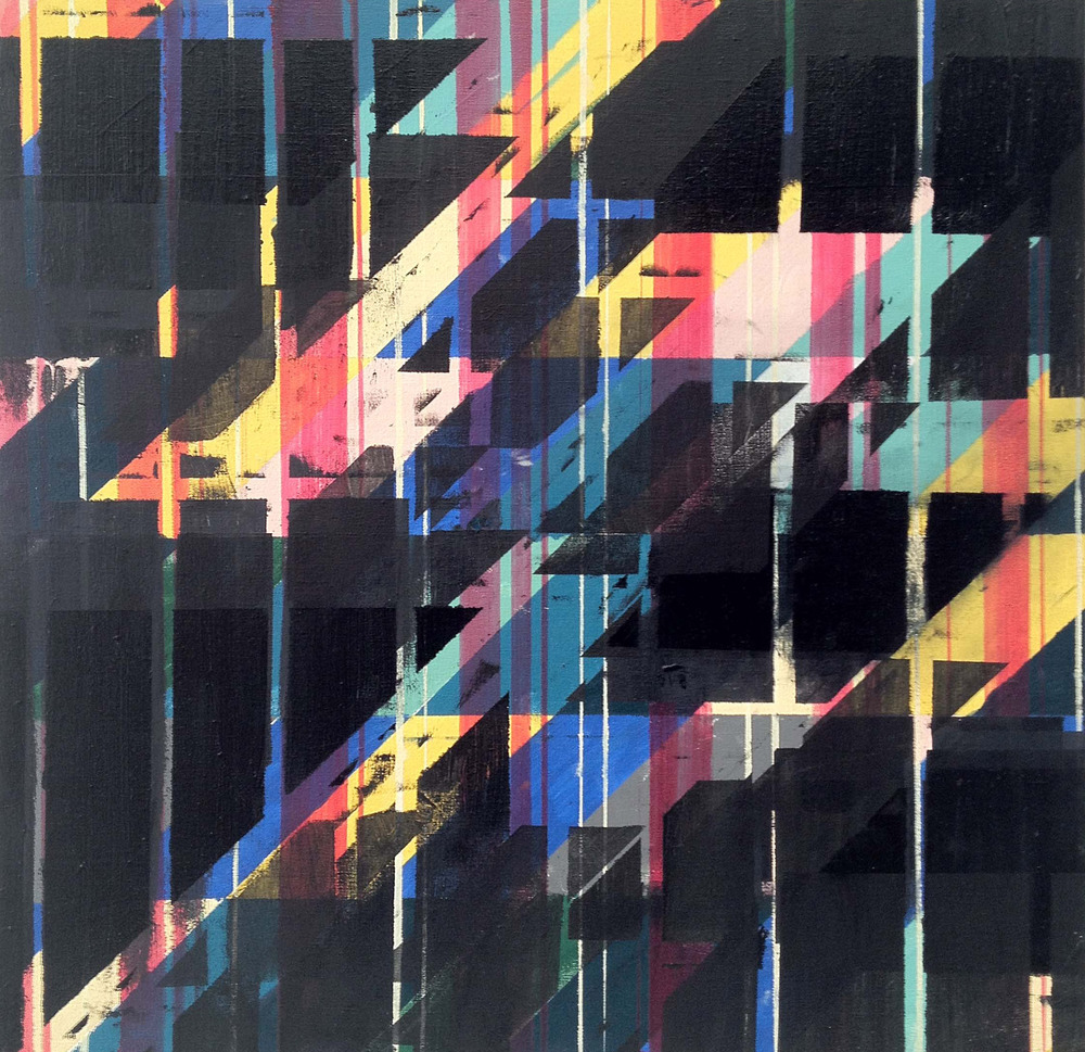 SOLD  Shadowplay Eleven times Black  ,  oil on canvas, 24x24, 2012, $650