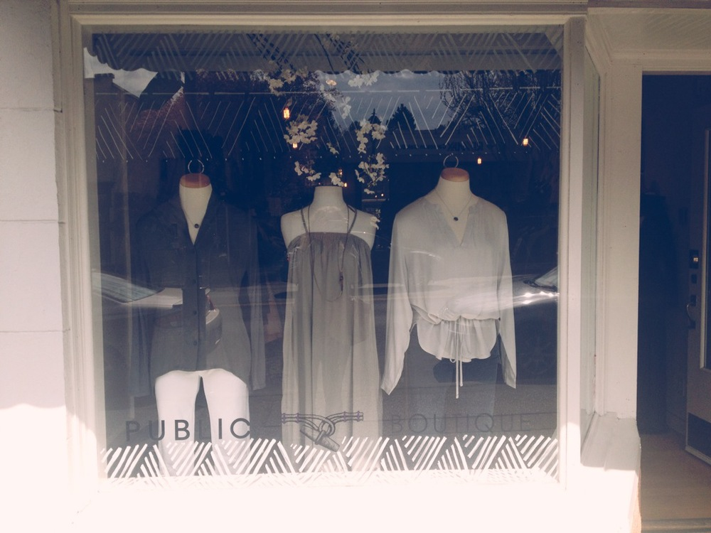 Window Design at  Public Boutique in Oak Bay, Victoria BC , Spring 2013