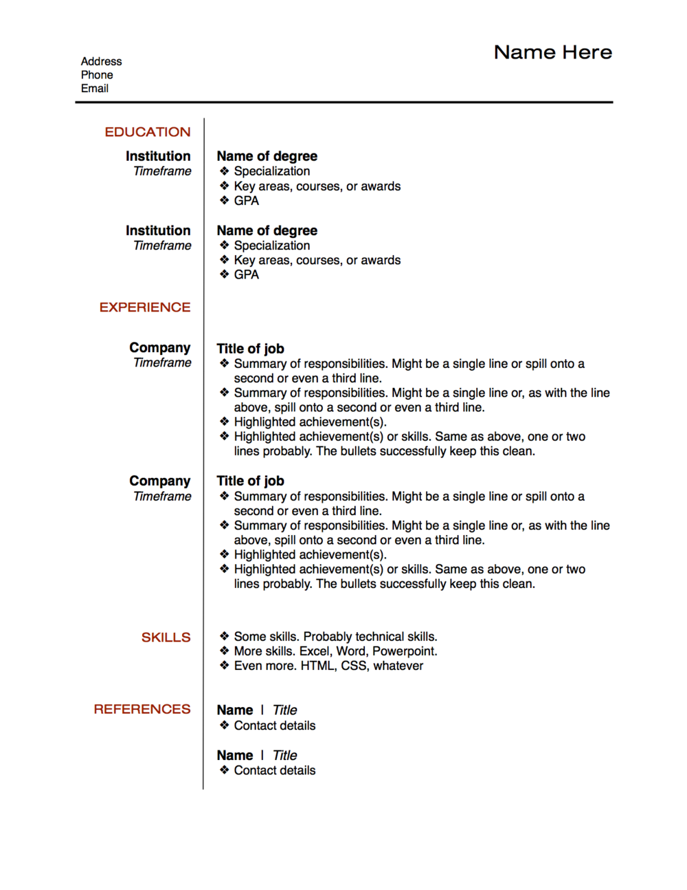resume layout examplepng - Resume Bullet Points