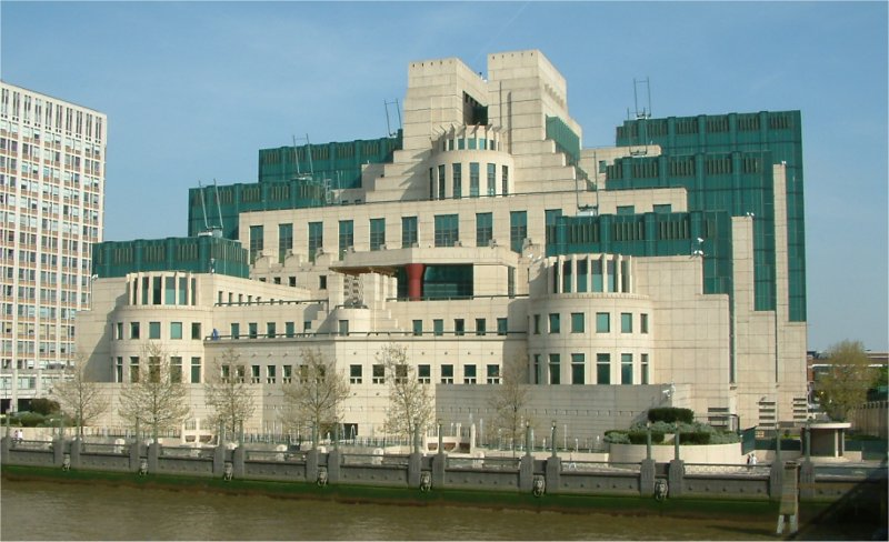 MI6's  SIS building  on the banks of the Thames, used for a Dummy publicity event.