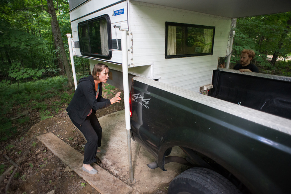 Loading camper on truck for the first time (by Tara)