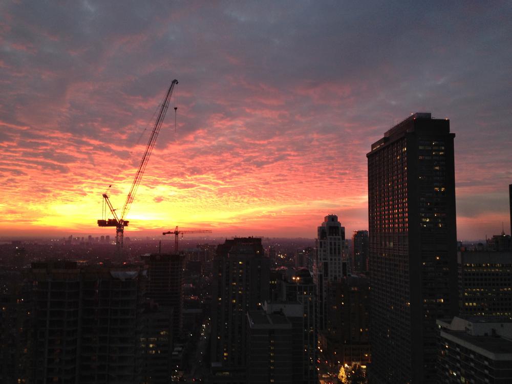 Early Winter Sunset in Toronto - Taken early December 2013, near Yonge and Bloor