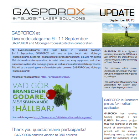 GASPOROX at Livsmedelsdagarna 9-11 September    Read our newsletter
