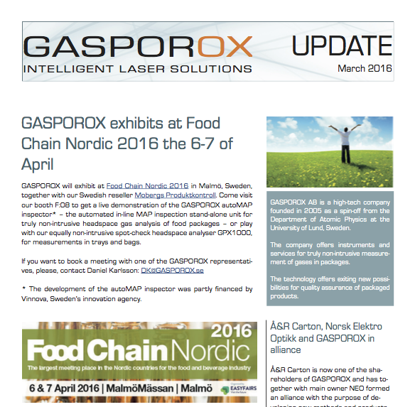 GASPOROX exhibits at Food Chain Nordic     Read our u  pdate