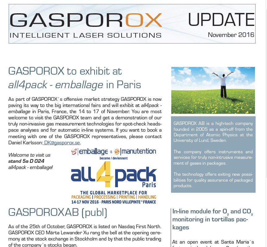 GASPOROX to exhibit at all4pack - emballage in Paris     Read our update