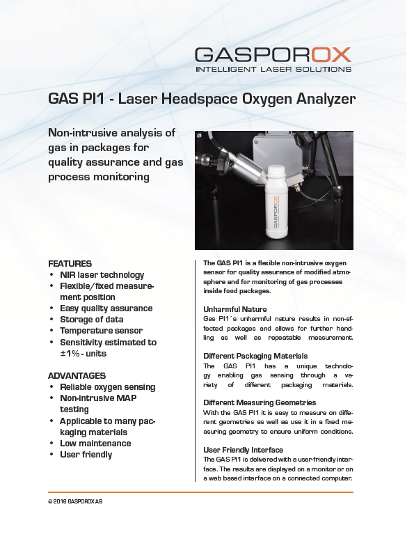 Gas PI1 Laboratory Headspace Gas Analyzer