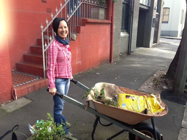 New compost bin steward and verge garden caretaker Dei