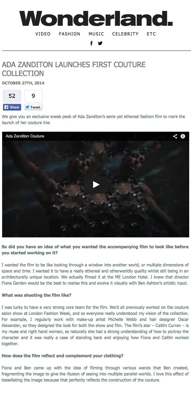 New Film For Ada Zanditon Premiered On Wonderland Fiona Garden