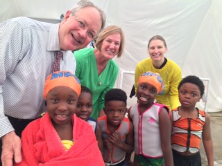 Mayor Tecklenburg, Shannon O'Brien (Program Director), Christie Segle (instructor), and CPA kindergarteners are all smiles after swim lessons.