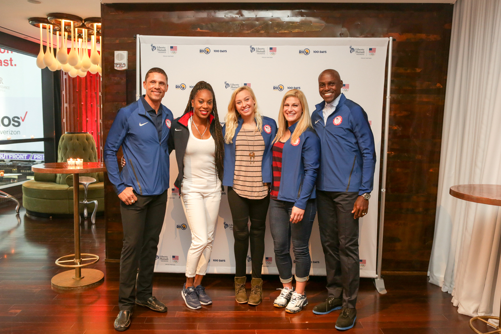 From left to right: Dan O'Brien, Sanya Richards-Ross, Jessica Long, Kayla Harrison, and Carl Lewis
