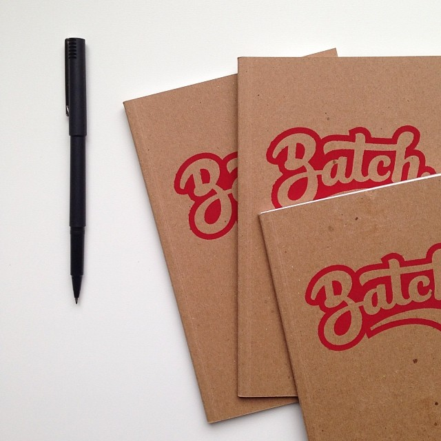 Screenprinted notebooks for the space - Image snagged from Sarah Armstrong's Instagram Feed