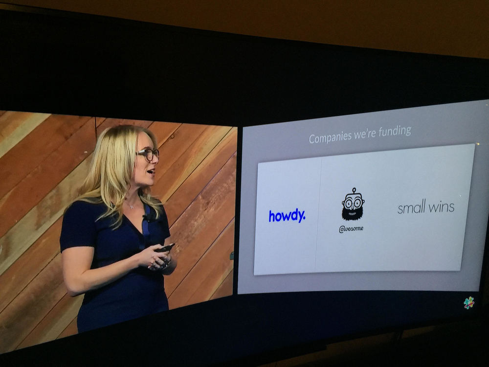Awesome logo on screen as Slack announces the three companies funded
