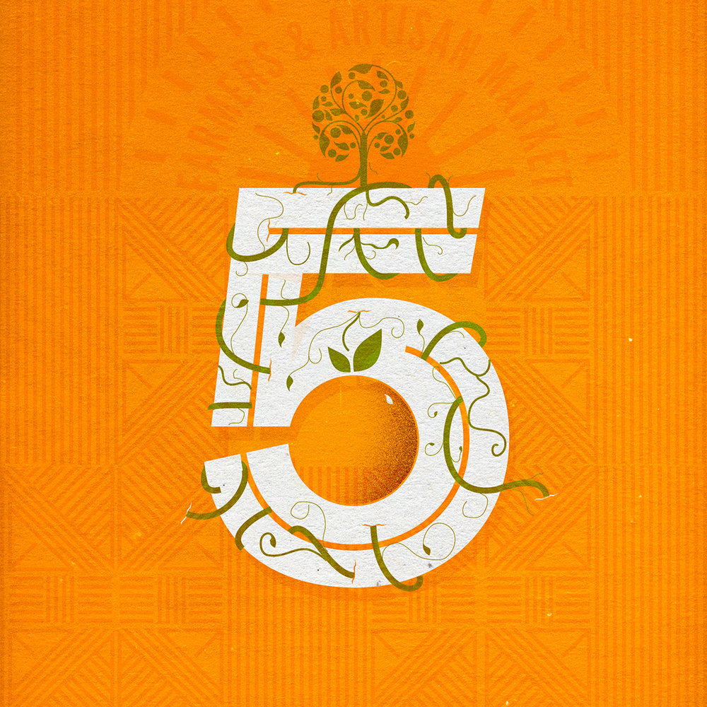 Image created for the 5 yr anniversary of the Orange Farmers Market
