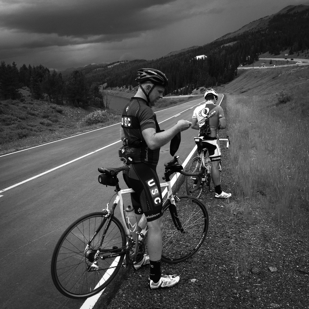At the summit of Vail Pass, just before we got thoroughly soaked as we rolled into Vail.