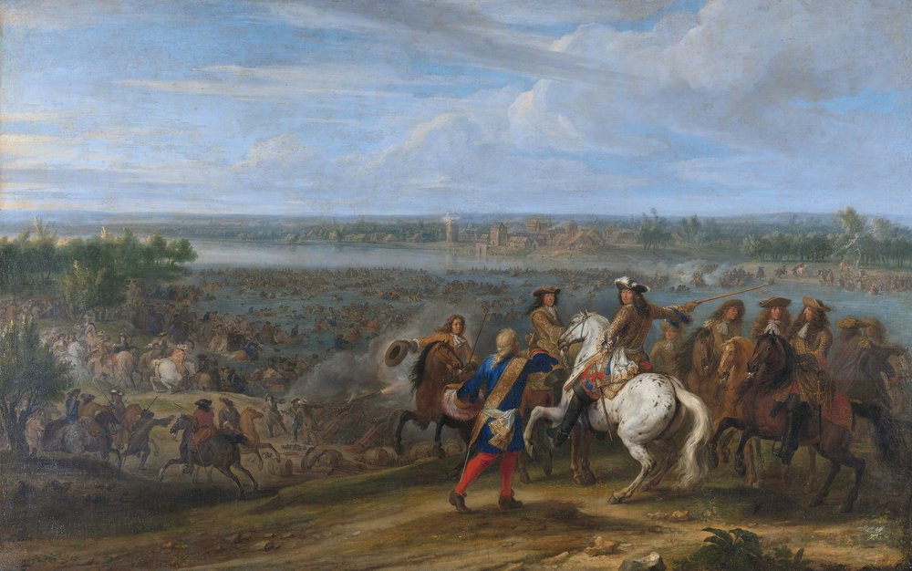 French forces under Louis XIV cross the Rhine into the Netherlands in 1672.