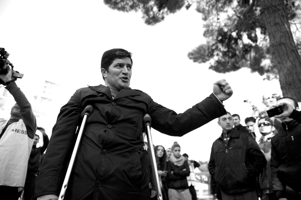 Baku, 10 March 2013. A political activist during an unsanctioned demonstration against the deaths of military conscripts in non-combat situations. Protests like this one are largely organized on Facebook and other websites. Photograph by Jahangir Yusif