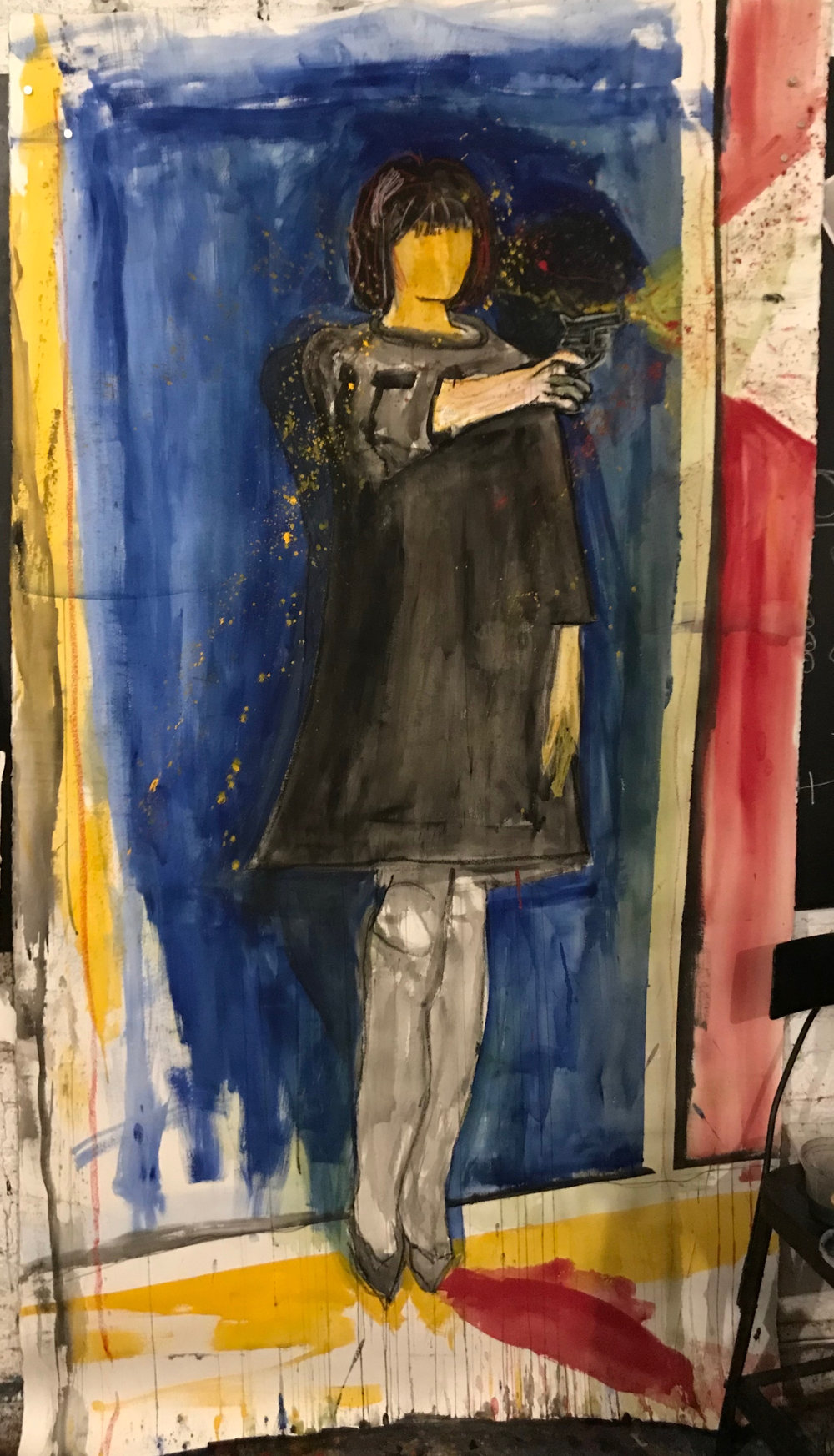 - Ron Silver paints a woman with a gun (New York, NY)