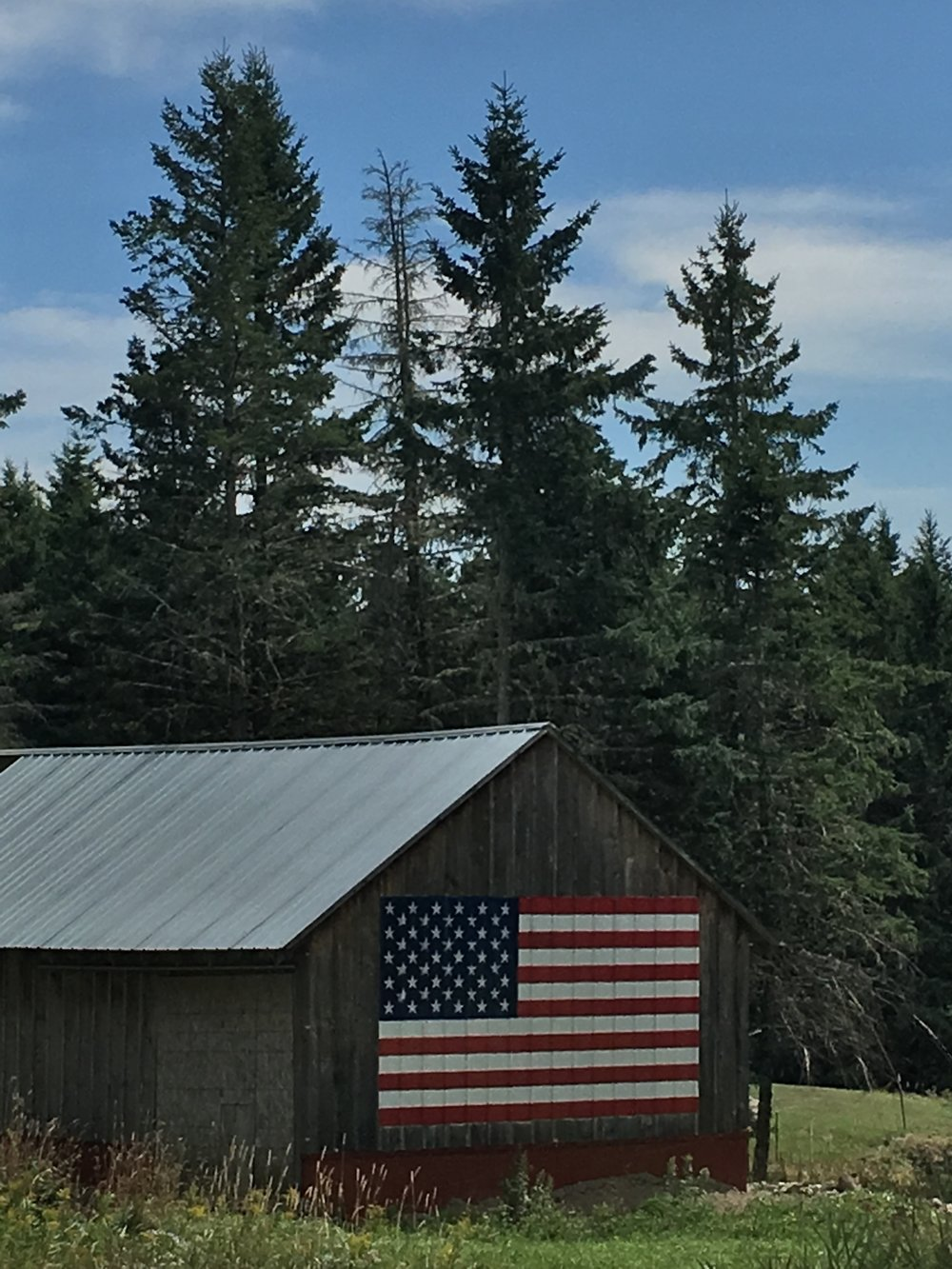 American Flag Painted on a Cabin in Smyrna, Maine