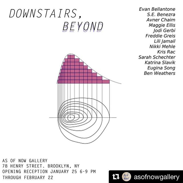 "#Repost @asofnowgallery with @get_repost ・・・ Please join us for the opening of our next show, ""Downstairs, Beyond"" Friday January 25 6-9pm, curated by @nikkimehle"