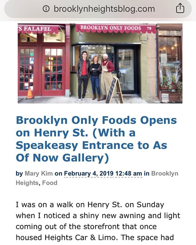 Brooklynheightsblog.com ran a story about @asofnowgallery and @brooklyn_only_foods