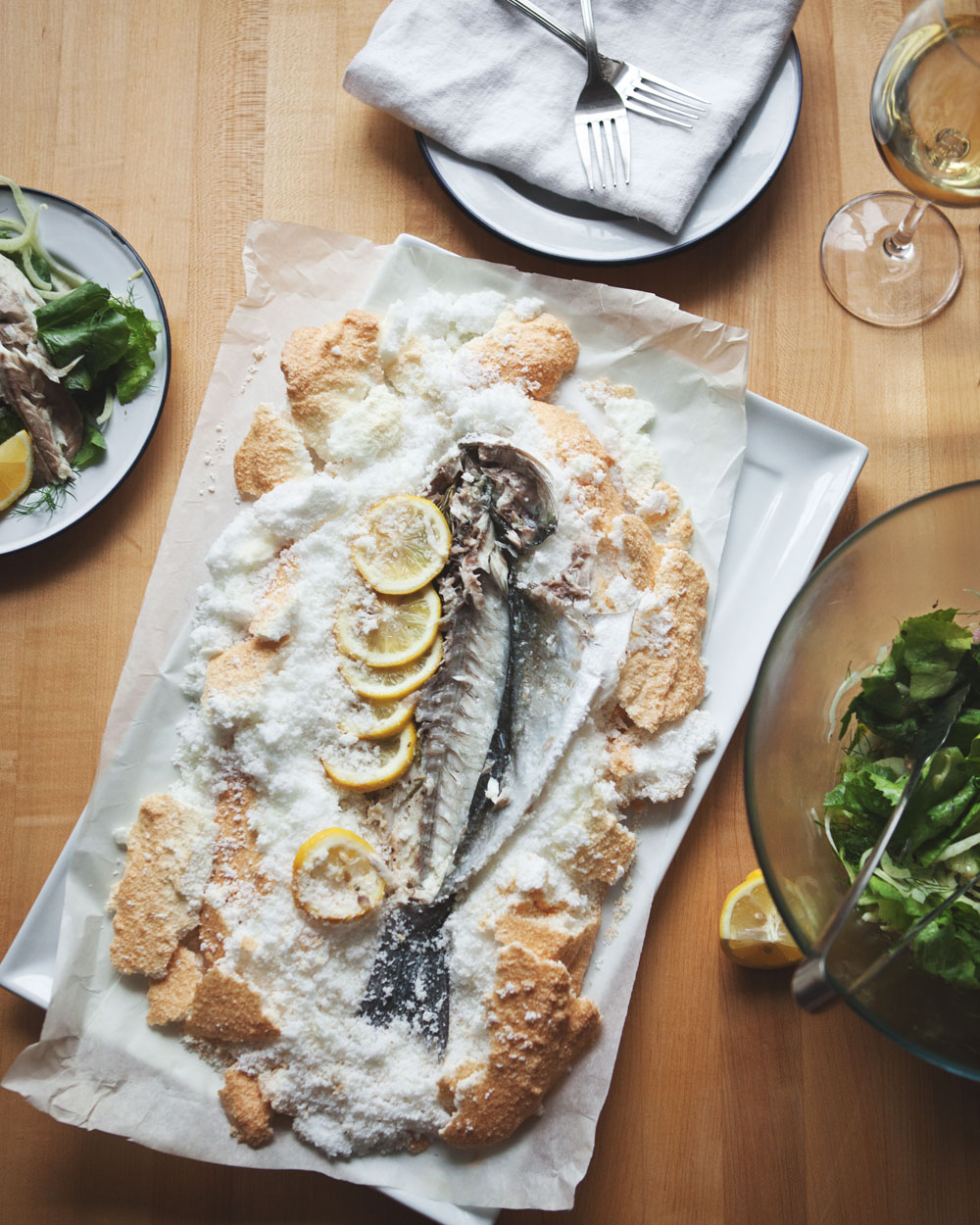 Salt Baked Fish with Fennel Escarole Salad + Caper Vinaigrette — a ...