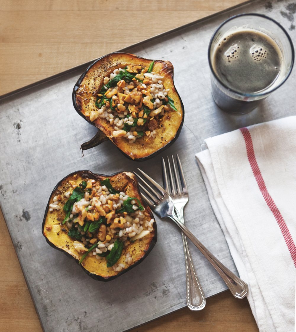 roasted acorn squash bowls with barley spinach salad_002.jpg