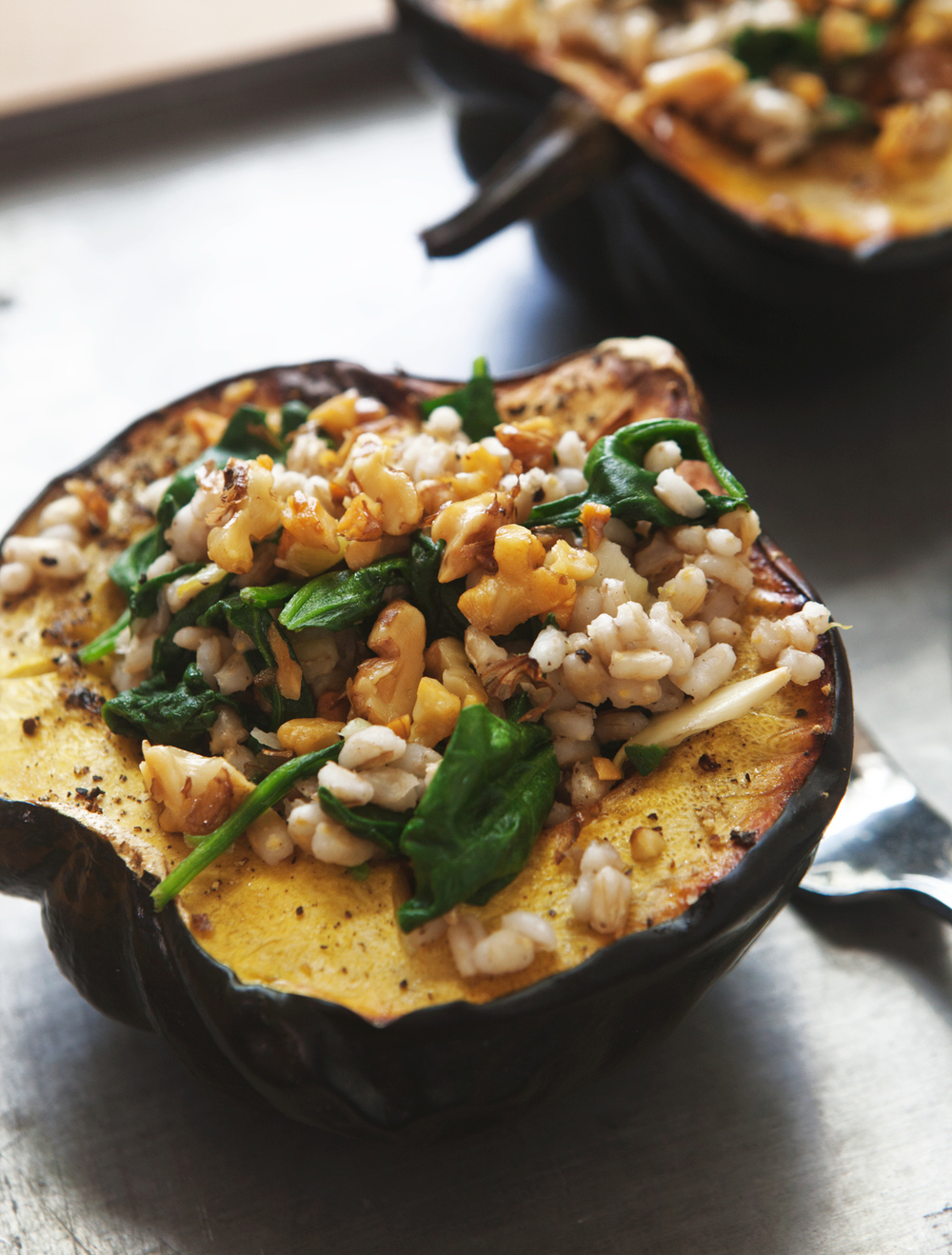 roasted acorn squash bowls with barley spinach salad_003.jpg