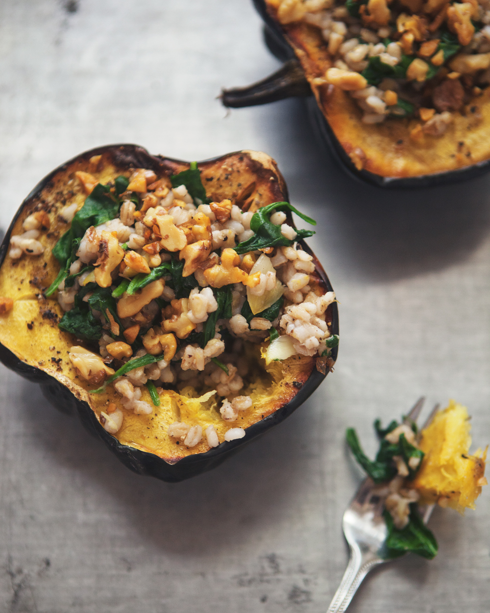 roasted acorn squash bowls with barley spinach salad_004.jpg