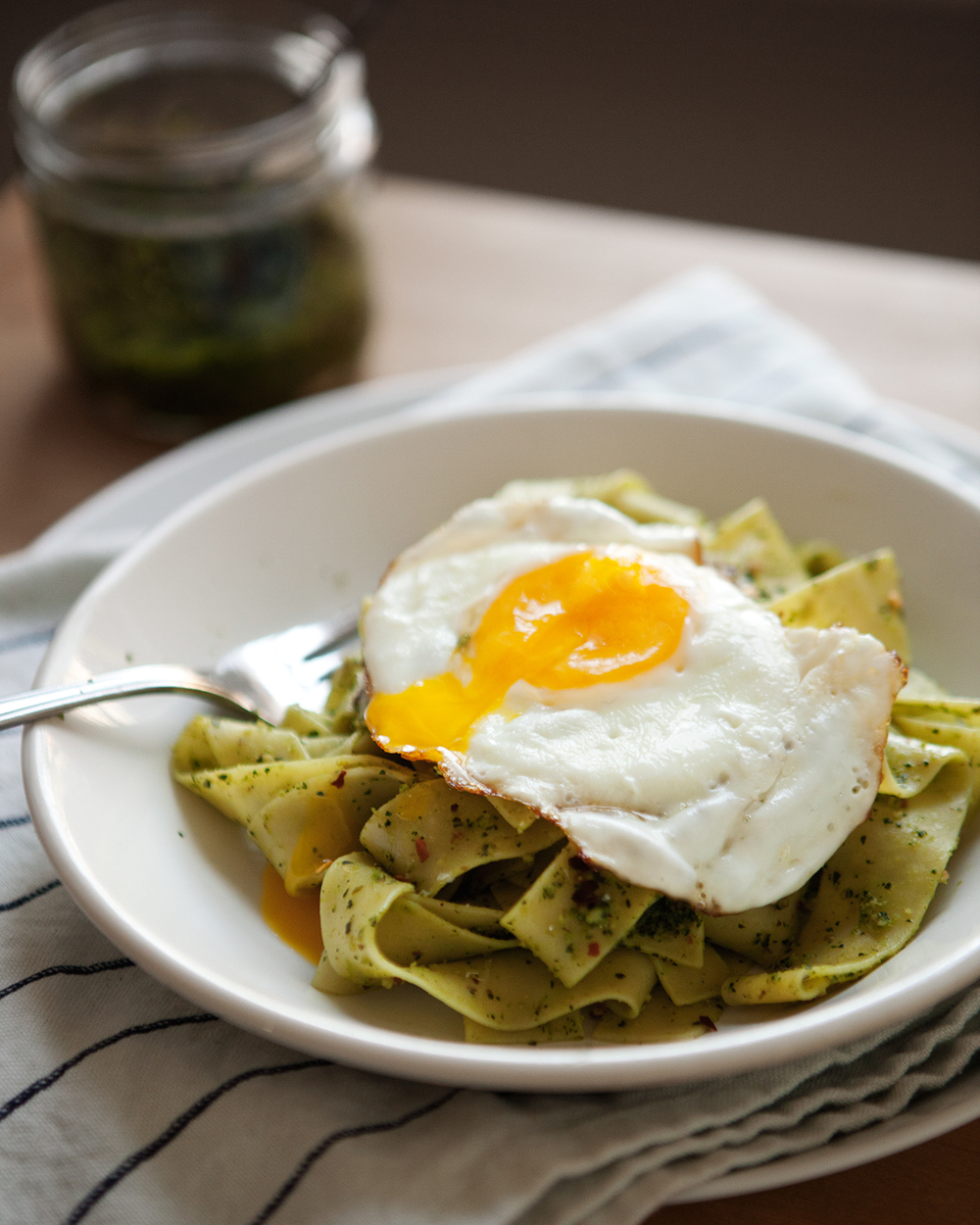 Pappardelle with Dandelion Pesto — a Better Happier St. Sebastian